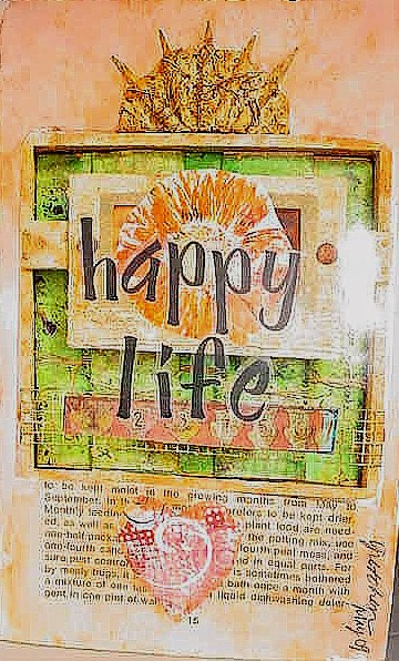 Happy Life / Altered Book Page