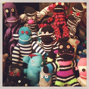 Sock monkeys ready to go to Camp Heroes!